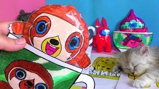 Маленькие герои снова в деле сквиши из акции Магнит распаковка с котом Начивки, Амонг ас из бумаги