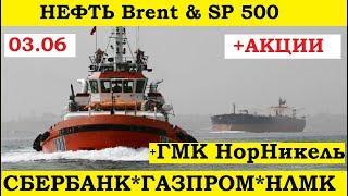 Нефть, Brent, sp500, Сбербанк,Газпром,ГМК,Норникель,НЛМК. Прогноз. Аналитика. Акции