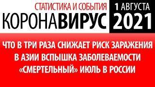 1 августа 2021: статистика коронавируса в России на сегодня