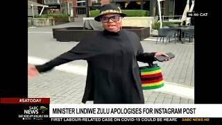 Minister Lindiwe Zulu apologises for the coronavirus Instagram post