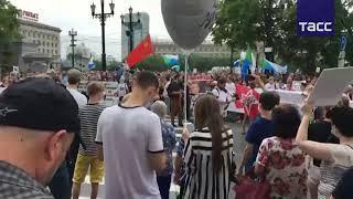 Несанкционированные акции протеста в Хабаровске в поддержку арестованного экс-губернатора