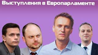 Навальный, Кара-Мурза, Милов и Яшин выступают на заседании Европарламента (английский язык)