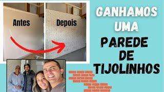 COMO FAZER UMA PAREDE DE TIJOLINHOS | Ganhamos um mimo de um inscrito para a nossa KITNET!!!